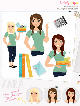 Woman teacher character clipart, girl avatar school clip art (Zara L077)