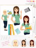 Woman teacher character clipart, girl avatar school clip a
