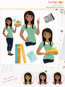 Woman teacher character clipart, girl avatar school clip art (Zoe L078)