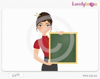 Woman teacher holding chalkboard PNG clip art (Carly 447)