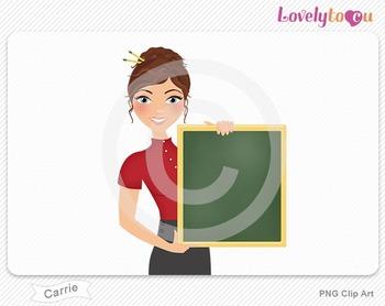 Woman teacher holding chalkboard PNG clip art (Carrie 447)