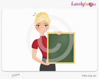 Woman teacher holding chalkboard PNG clip art (Chloe 447)
