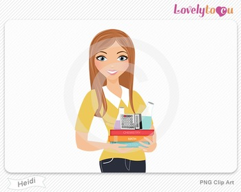 Woman teacher of math and science PNG clip art (Heidi 598)