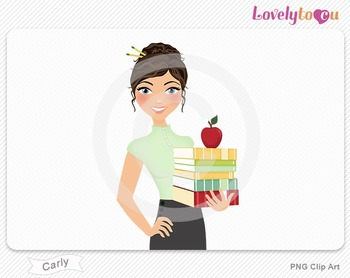 Woman teacher with books and apple PNG clip art (Carly 446)