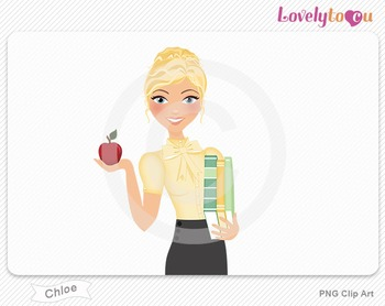 Woman teacher with books and apple PNG clip art (Chloe 445)