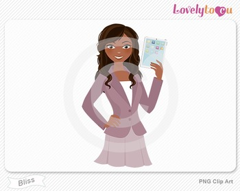 Woman teacher with ipad PNG clip art (Bliss 627)