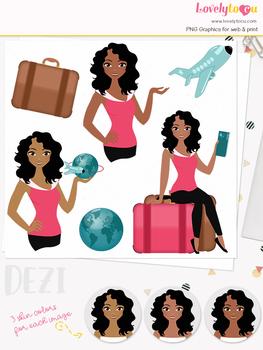 Woman travel character clipart, holiday girl avatar clip art (Dezi L134)