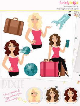 Woman travel character clipart, holiday girl clip art (Dixie L133)