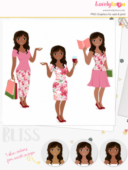 Woman trio character clipart, shopping, wine, book clip art (Bliss L094)