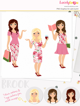 Woman trio character clipart, shopping, wine, book clip art (Brook L093)