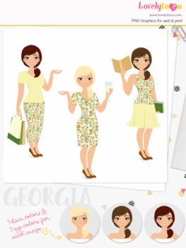 Woman trio character clipart, shopping, wine, book clip art (Georgia L095)