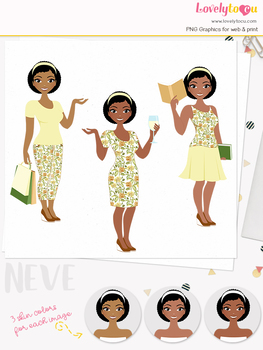 Woman trio character clipart, shopping, wine, book clip art (Neve L096)