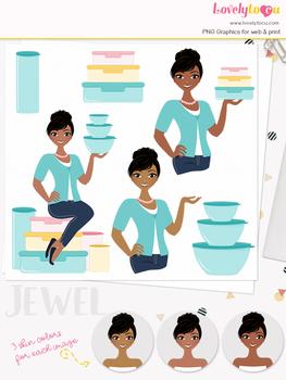 Woman tupperware character clipart, sales girl avatar clip art (Jewel L132)