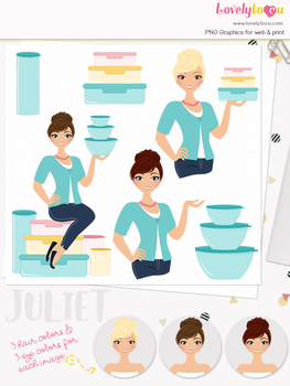 Woman tupperware character clipart, sales girl clip art (Juliet L131)