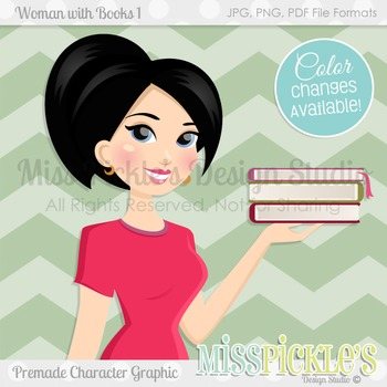 Woman with Books 1, Teacher Avatar- Commercial Use Character Graphic