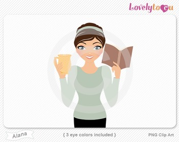 Woman with book and coffee PNG clip art (Alana 634)