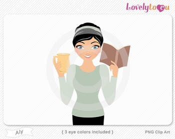 Woman with book and coffee PNG clip art (Aly 634)