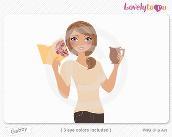 Woman with book and coffee PNG clip art (Gabby 632)