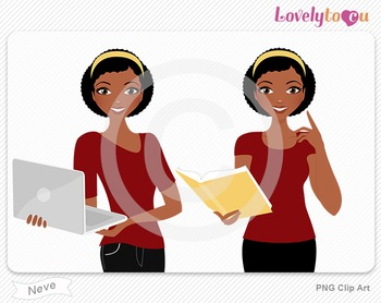 Woman with book and laptop PNG clip art (Neve 600)