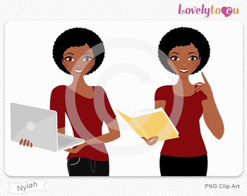 Woman with book and laptop PNG clip art (Nylah 600)