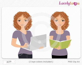 Woman with book and laptop PNG clip art (Rita 599)