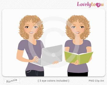 Woman with book and laptop PNG clip art (Ronnie 599)