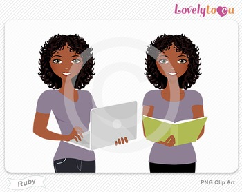 Woman with book and laptop PNG clip art (Ruby 599)
