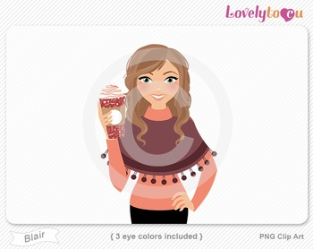 Woman with coffee cup PNG clip art (Blair 622)