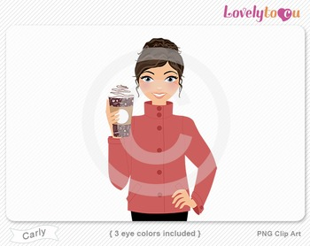 Woman with coffee cup PNG clip art (Carly 623)