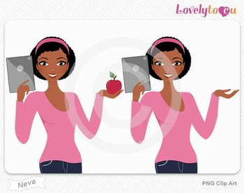 Woman with ipad and apple PNG clip art (Neve 609)