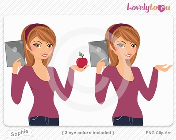 Woman with ipad and apple PNG clip art (Sophie 608)