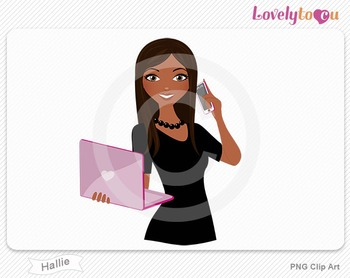 Woman with laptop and cell phone PNG clip art (Hallie 506)