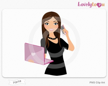 Woman with laptop and cell phone PNG clip art (Hana 506)