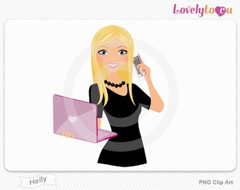Woman with laptop and cell phone PNG clip art (Holly 506)