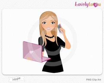 Woman with laptop and cell phone PNG clip art (Hope 506)
