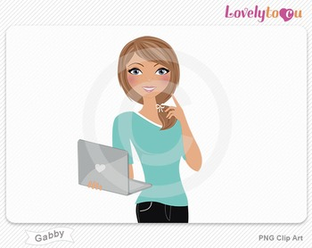 Woman with laptop pose PNG clip art (Gabby 508)