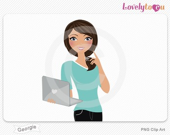 Woman with laptop pose PNG clip art (Georgie 508)