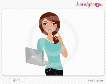 Woman with laptop pose PNG clip art (Gina 508)