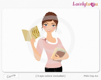 Woman with paperback book stack PNG clip art (Carrie 633)