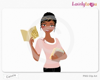 Woman with paperback book stack PNG clip art (Cassie 633)