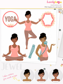 Woman yoga character clipart, meditation girl avatar clip art (Jewel L140)