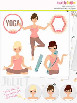 Woman yoga character clipart, meditation girl clip art (Juliet L139)