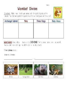 Wombat Divine Reading Response Activity