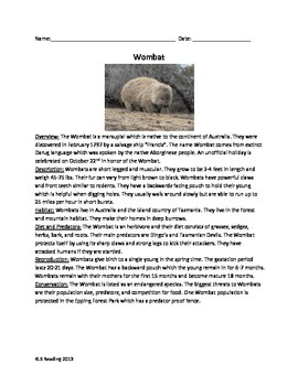 Wombat - Review Article Questions Facts Vocabulary Word Search endangered