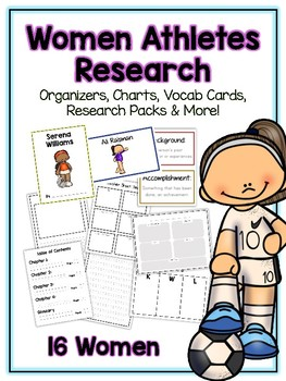 Women Athletes Research Project -16 People Vocab Cards, Packet, Book & More