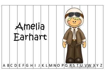 Women History Amelia Earhart themed Alphabet Sequence Puzzle.  Preschool game.