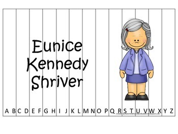 Women History Eunice Kennedy themed Alphabet Sequence Puzzle.  Preschool game.