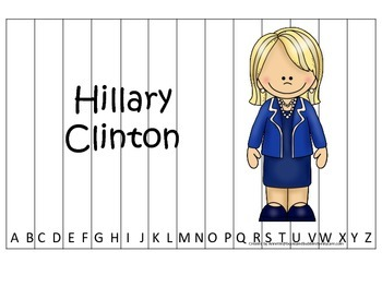 Women History Hillary Clinton themed Alphabet Sequence Puzzle.  Preschool game.