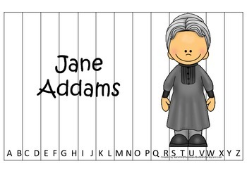 Women History Jane Addams themed Alphabet Sequence Puzzle.  Preschool game.