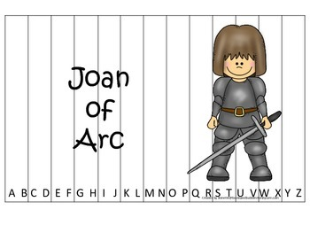 Women History Joan of Arc themed Alphabet Sequence Puzzle.  Preschool game.